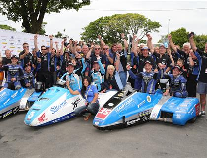 HOLDEN/WINKLE WIN DRAMATIC SURE SIDECAR RACE AT THE ISLE OF MAN TT RACES AS BIRCHALLS LUCK RUNS OUT